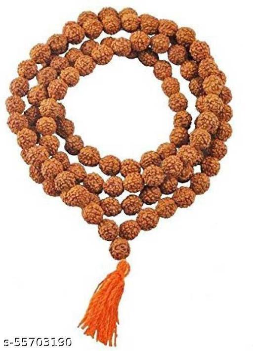 YVC 5 Mukhi Rudraksha Mala Men/Women Wearing (7mm, Medium Bead Size, Chest Length, 108+1 Beads) - 100% Natural Brown Rudraksh Beads Wood Cha
