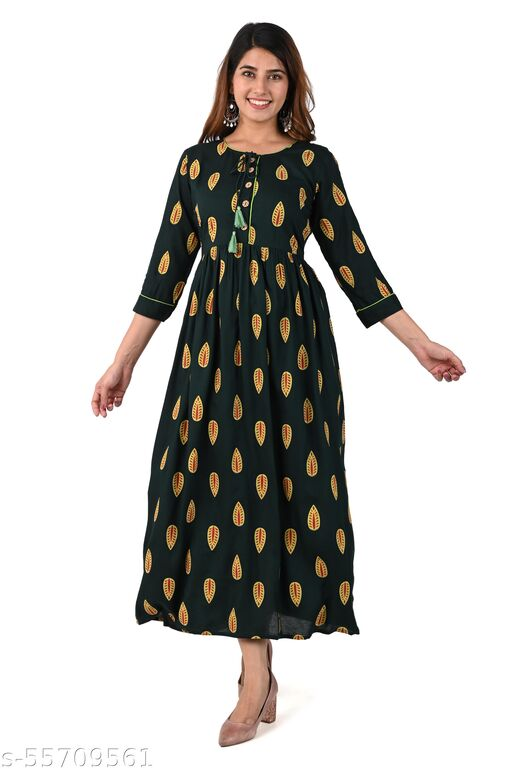 Printed ethnic bottle-green gown for women