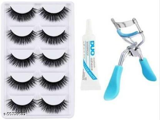 False Eyelashes-Set of 5, Eyelashes Glue & Eyelash Curler
