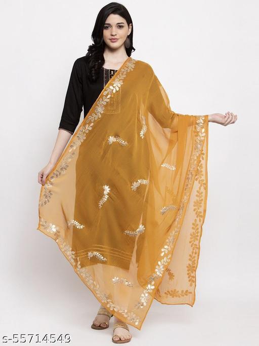 Mustard Yellow &Gold-Toned Chiffon Leaf GottaPatti Dupatta. woven design Stole,