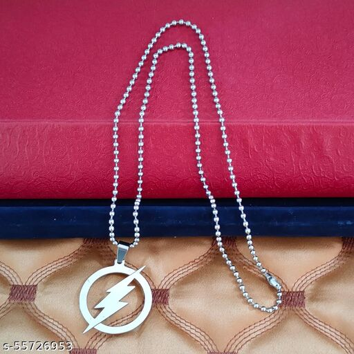 Stylish Wind Shape Circle   Silver   Metal And Zinc Nature  Pendant Necklace Chain For Men And Women