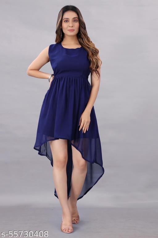 Aika Women's Georgette Hight - Low Dress Blue