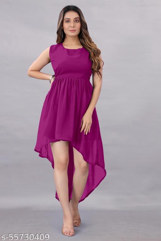 Aika Women's Georgette Hight - Low Dress Wine