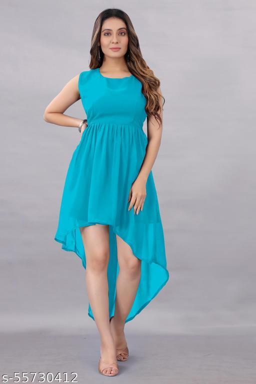Aika Women's Georgette Hight - Low Dress Sky