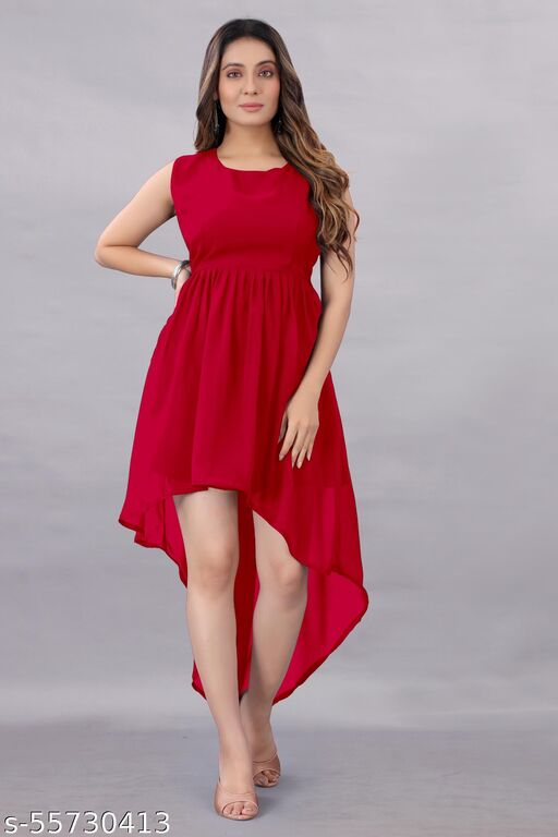 Aika Women's Georgette Hight - Low Dress Red