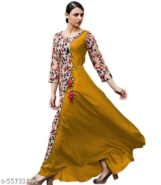 JOY MAKER Women's Fit And Flare Fancy Cotton Western Black Gown Dress