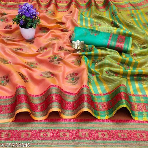 SERONA FABRICS Women's Jacquard Cotton Silk Zari Butti And Lace Border Saree Party Wear Saree
