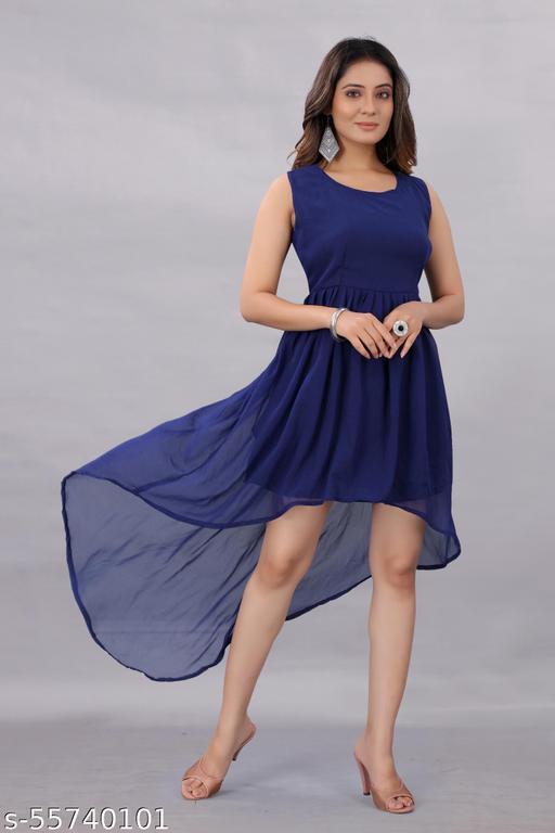 Active Feel Free life Women's Georgette Hight - Low Dress Blue