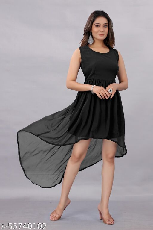 Active Feel Free life Women's Georgette Hight - Low Dress Black