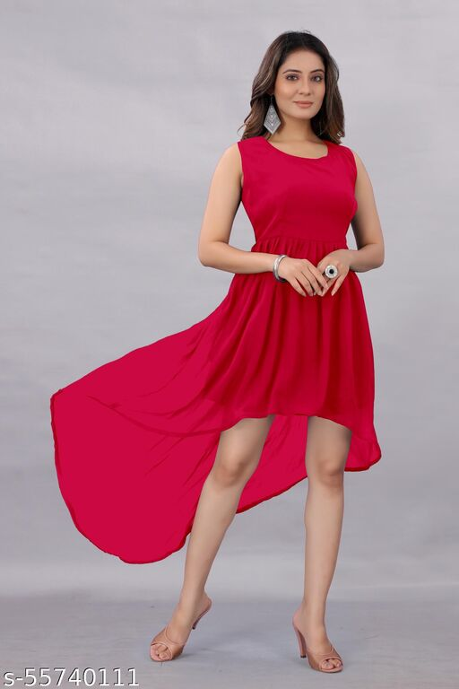Active Feel Free life Women's Georgette Hight - Low Dress Red