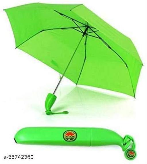 Banana Shaped Umbrella Green Color Folding WindProof UV Protection with Green Banana Shaped Case 1 pc