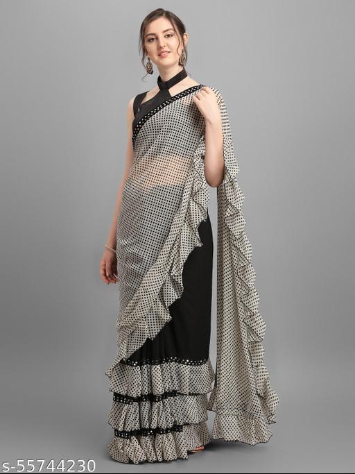Polka Print Bollywood Georgette, Pure Silk Saree