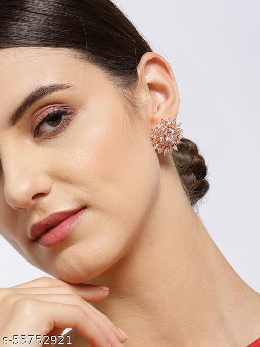 Rose Gold-Plated American Diamond Studded Floral Stud Earrings