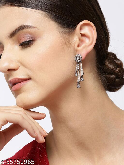 Gunmetal-Plated American Diamond Studded Floral Drop Earrings