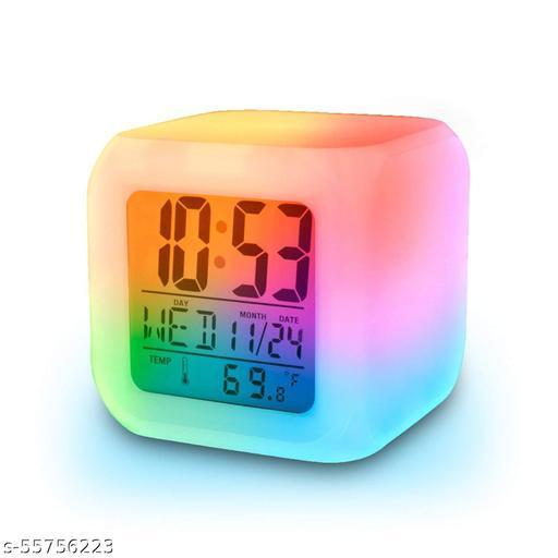 KAVYA CREATION Plastic 7 Color Changing Led Digital Alarm Clock With Date Time
