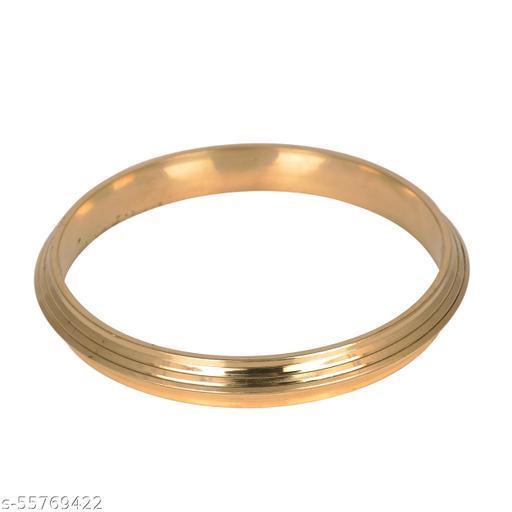 KESAR ZEMS Gold Plated Sikh Sardar Punjabi Brass Kada With Triple Groove Design For Unisex {Diameter:6.2 CM} Golden.