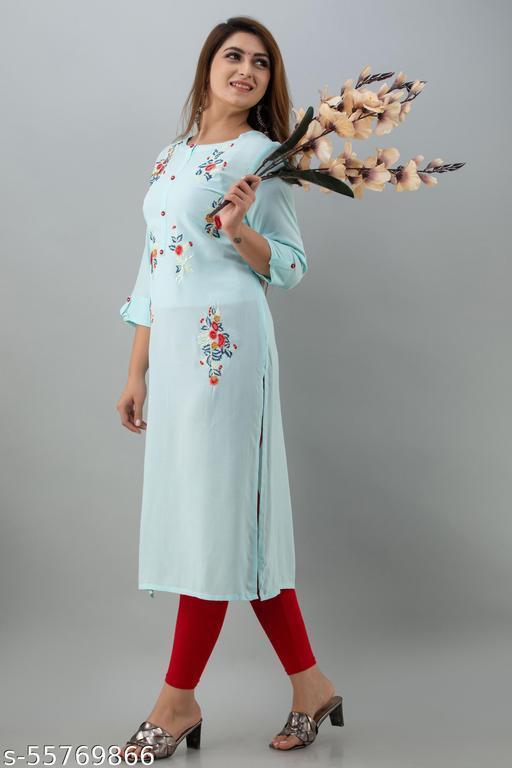 women rayon embroidered kurti