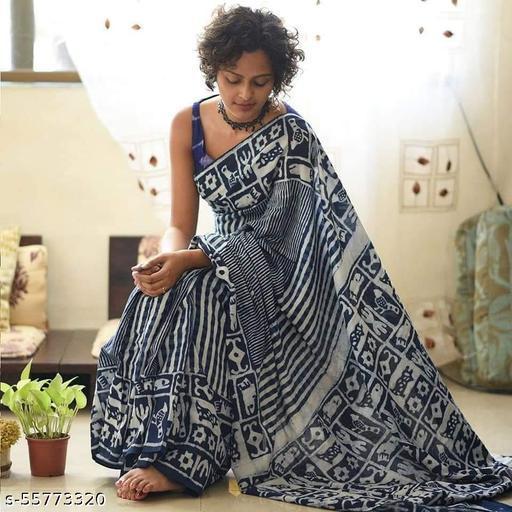 Bagru Print New Hand Block Printed Saree With Seprate Blouse