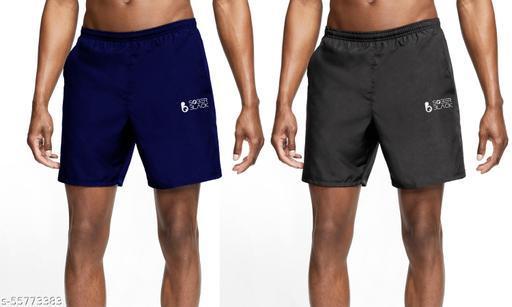 SOBER BLACK Fashionable Unique Men  Casual Cotton Blend Solid Shorts For Boys/Men Plain Shots (PACK OF 2)