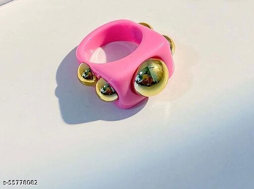 Yu Fashions Chunky Acrylic Resin Golden Beads Ring