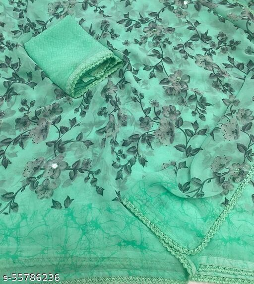soft Georgette chex printed saree with georgette blouse piece