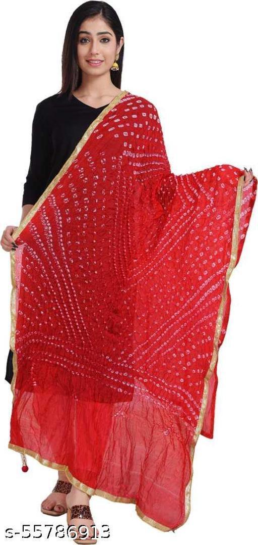 MS TEXTILES Art Silk Printed Red Gota Lace Work Dupatta