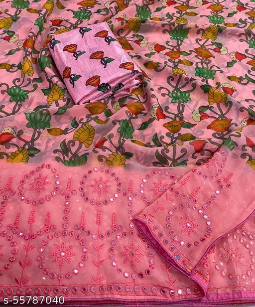 Soft georgette saree with all over kalmkari print and digital printed blouse