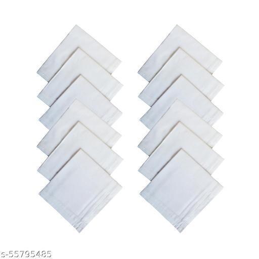 100% Pure Cotton Premium White Handkerchiefs Hanky for Men\Women- plane white size XXL- Pack of 12