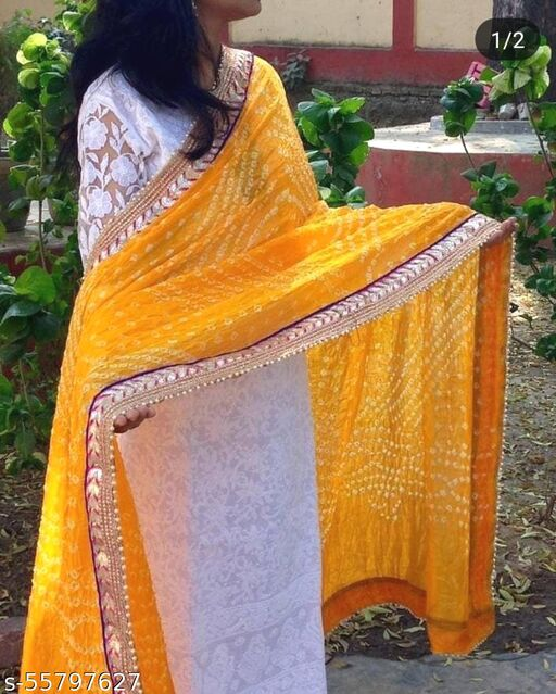 BANDHANI DUPTTA WITH LACE BORDER