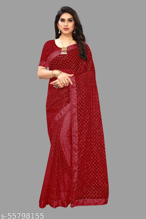 New Bollywood Designer Sarees 3mm Embroidery Sequence Work With Multiple Blouse Piece