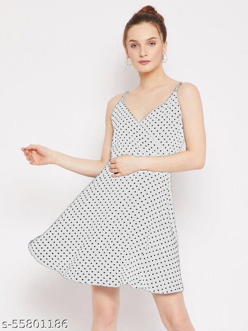 Istyle Can White Sleeveless Polka Dot V Neck Polyester Shoulder Strap Mini Dress For Party   Casual   Evening for Women's