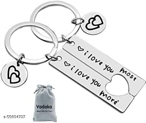Couple Gifts Keychain for Husband Wife,I Love You Most I Love You More Matching Couple Keychain for Him and Her,Valentine's Day Birthday Gifts for Boyfriend Girlfriend(2 Pack)
