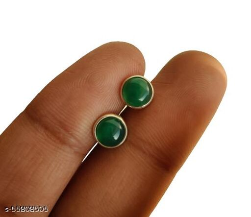 Natural 6 MM Round Green Onyx 925 Sterling Silver Minimalist Studs Small Earrings for Women & Girls Jewelry