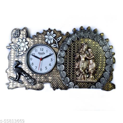 greygator Radha Krishna Clock  Decorative Showpiece - (Plastic, Gold, Orange)