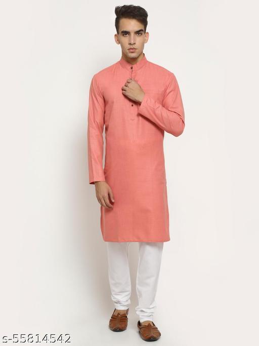 Aarsha Pink Solid Men's Long Kurta