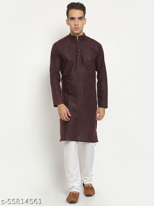 Aarsha Purple Shine Solid Men's Long Kurta