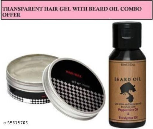 Best Hair Styling Gel Wax With Natural Beard Smoothing Hair care Oil Combo  (2 Items in the set)