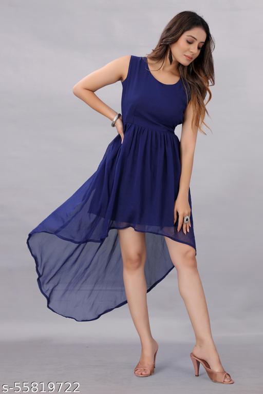 Apnisha Women's Georgette Hight - Low Dress Blue