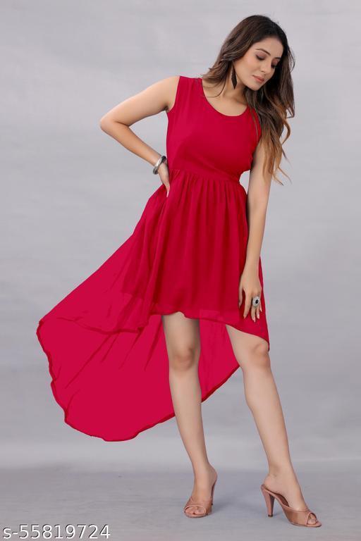 Apnisha Women's Georgette Hight - Low Dresses Red
