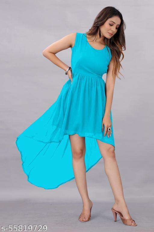 Apnisha Women's Georgette Hight - Low Dress Sky