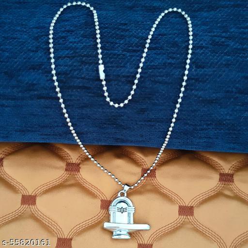 Shiva Mahadev Bolenath Lord  Bahubali Shivling Locket  Silver   Metal And Zinc Religious  Pendant Necklace Chain For Men And Women
