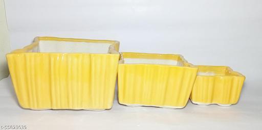 Ceramic Planter set   Set of 3   Yellow Colour   Square Shaped   For use Home, Garden,