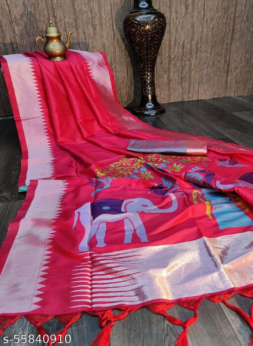 KB Soft Raw Silk Two tone Weaving saree With Antique Design and temple woven border with exclusive woven pallu and contrast blouse piece
