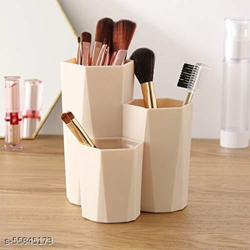 SHS Sales Plastic Makeup Brush Holder Organizer,3 Slot Cosmetics Storage Brushes Cup Pencil Holder for Desk, Dresser, Counter top,Desktop Storage Box,Dressing Table Stand (Multi Color) 12×11×13 cm
