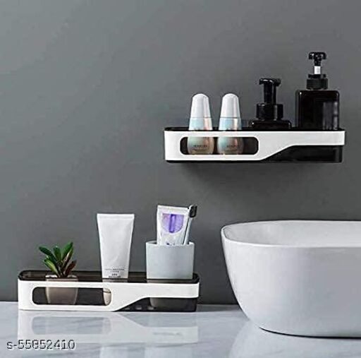 SHS Sales Bathroom Shelf Rack Storage Holder Shower Rod Mounted Shampoo Gel Draining Organizer Basket Bathroom Accessories Suction Cup Bathroom Shelf Wall Rack Plastic Shower Caddy Rack(Set of 1)