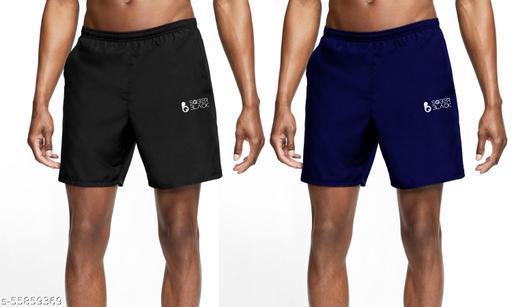 Fashionable Unique Men  Casual Cotton Blend Solid Shorts For Boys/Men Plain Shots (PACK OF 2)