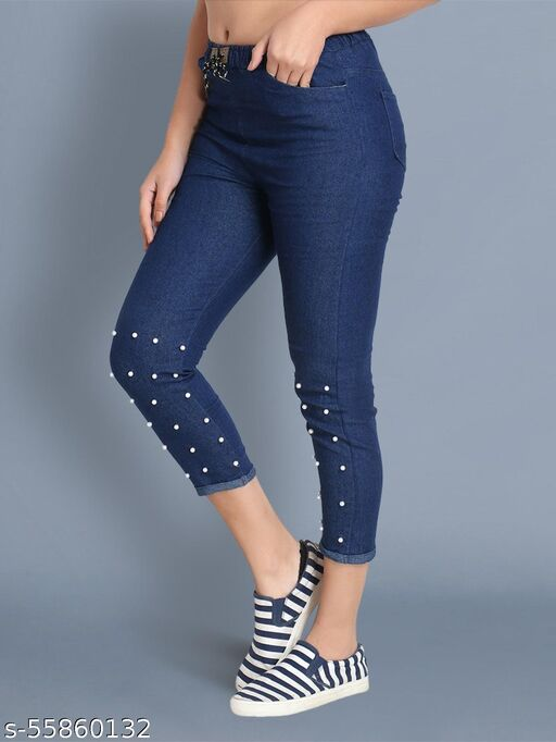 Bottom Pearl Blue Jogger Jeans for Girls & Women