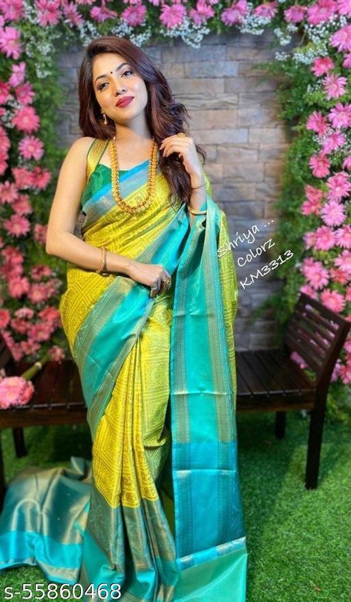 Women Banarasi Soft Lichi Silk Saree With Blouse Piece
