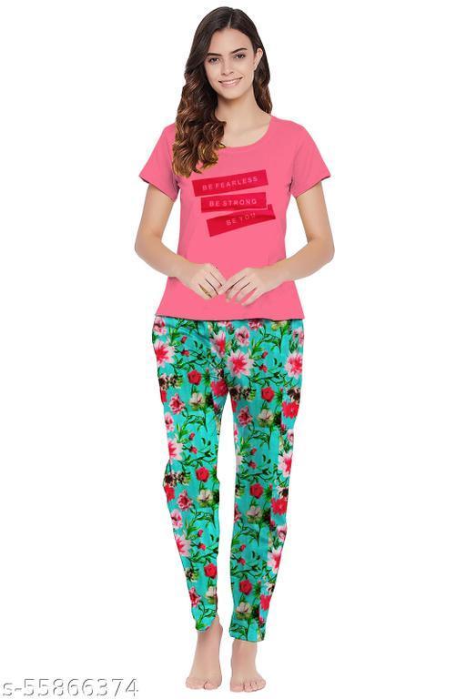 ST Ladies Half Sleeve T shirt With Pyjama Set
