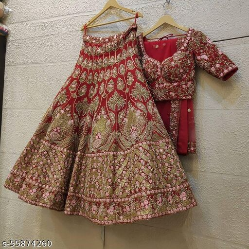 Red Colored Partywear Designer Embroidered Malay Satin Lehenga Choli With Cancan